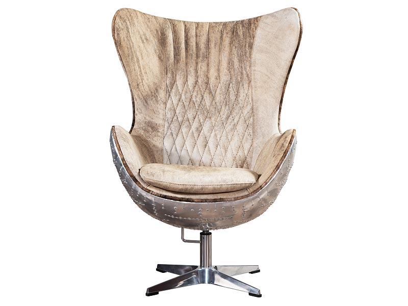 Aviator Pony Skin Leather Egg Chair Fiberglass Inner