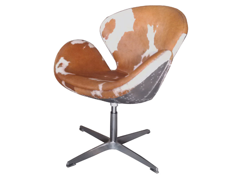 Aviator Cow Hide Leather Swan Chair