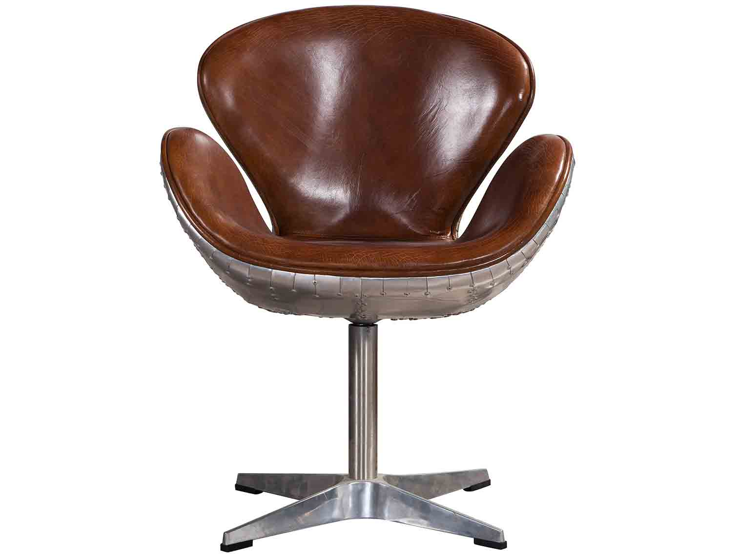 vintage leather aviator swan chair