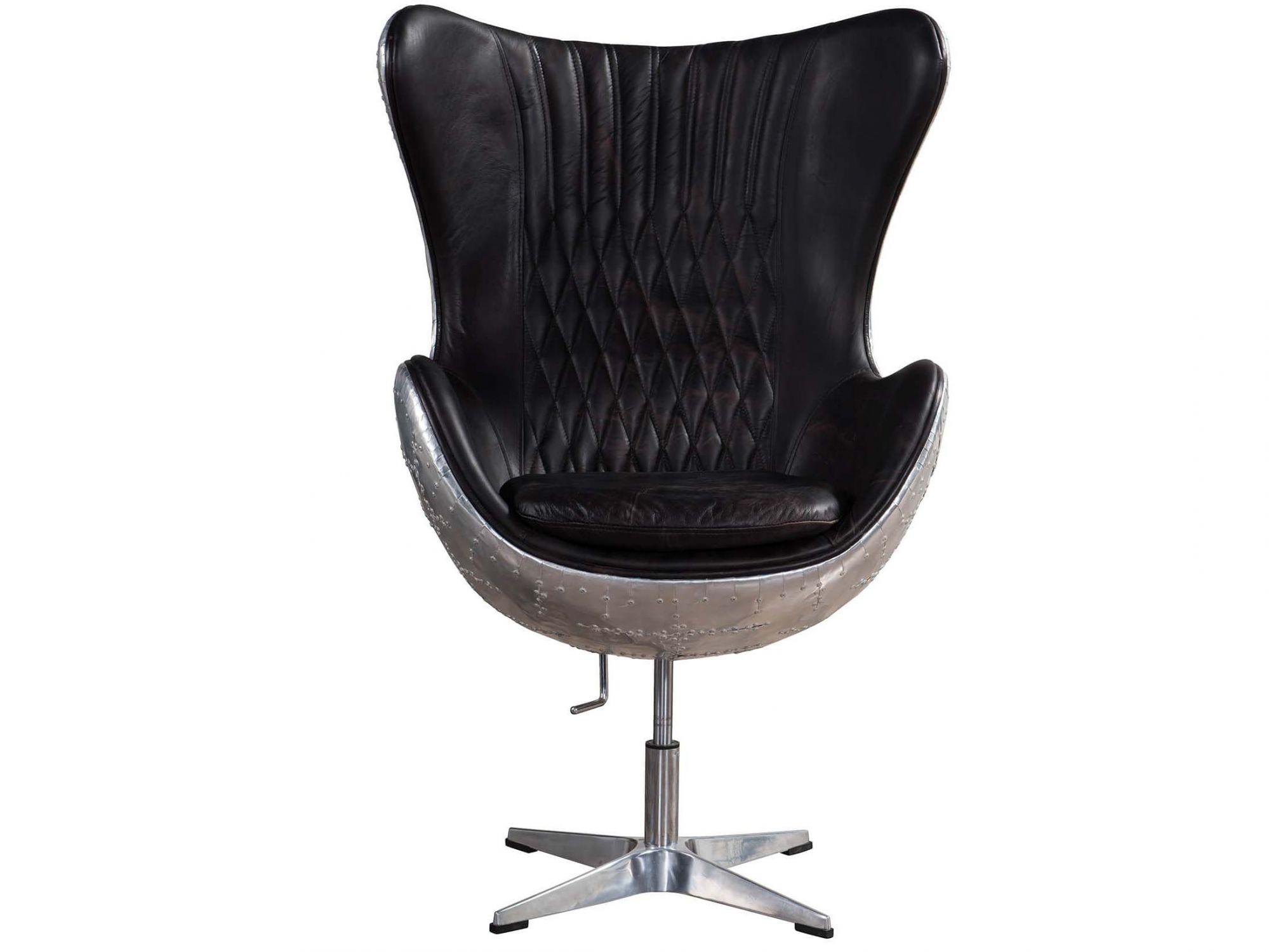 Aviator Vintage Leather Egg Chair Fiberglass Inner Frame Vintage
