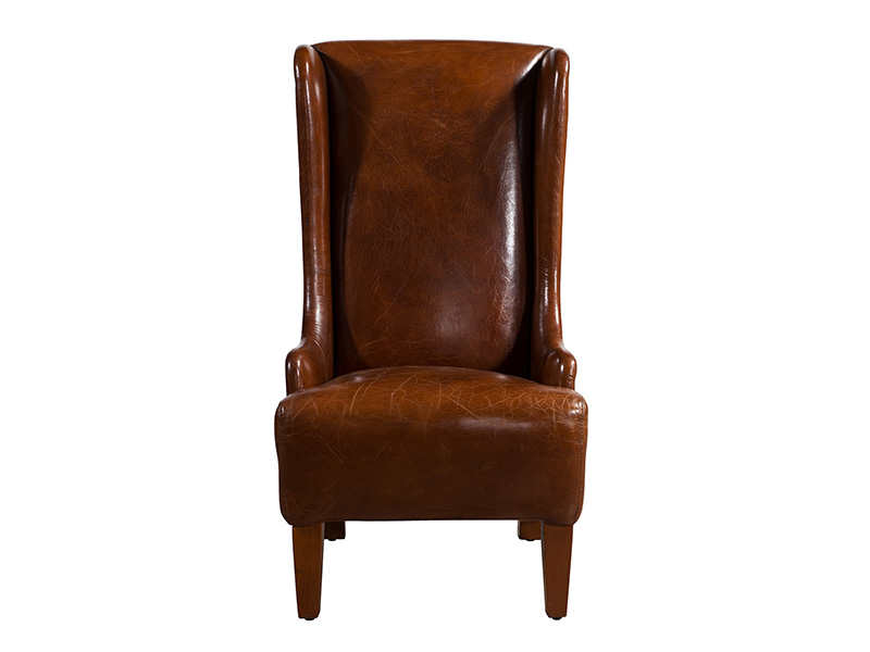 Wing Back Chair; Vintage High Wing Back Leather Chair. U003e