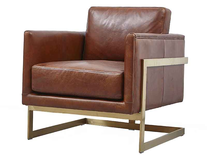 Brass Frame Vintage Leather Square Shape Chair