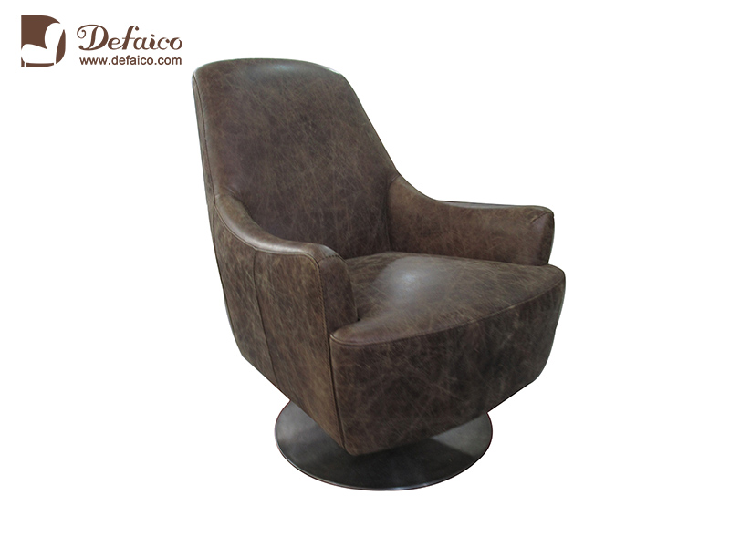 Upholstered Modern Metal Legs Leather Wing Accent Sofa For