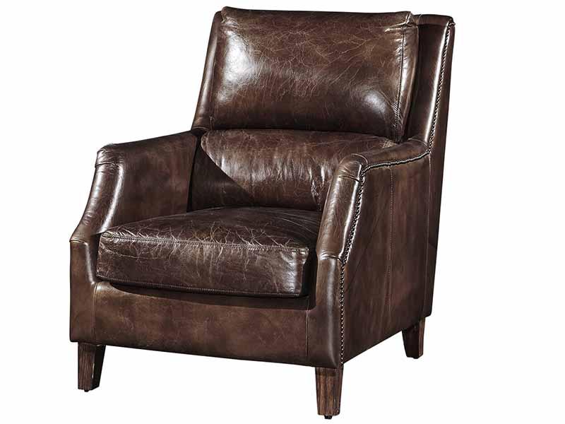 High Back Vintage Leather Armchair, Vintage Leather ...