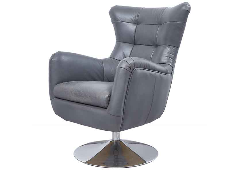 Vintage Gray Leather Wing Back Swivel Chair