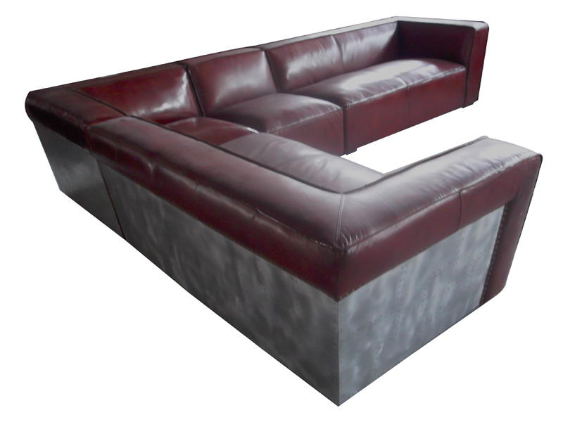 Vintage Leather Aviator Sectional Sofa