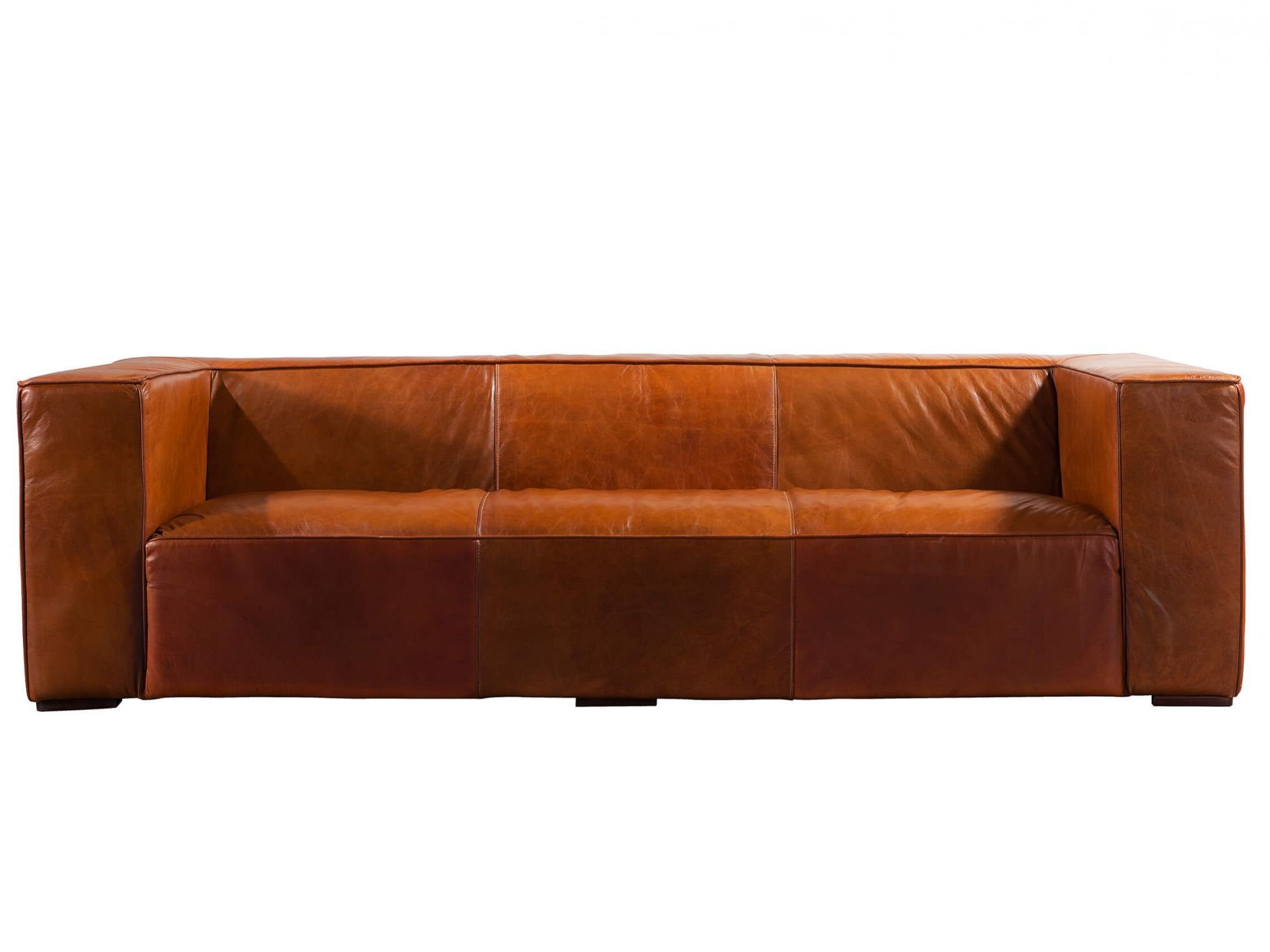 - Retro Brown Fulham Leather Couch Sofa