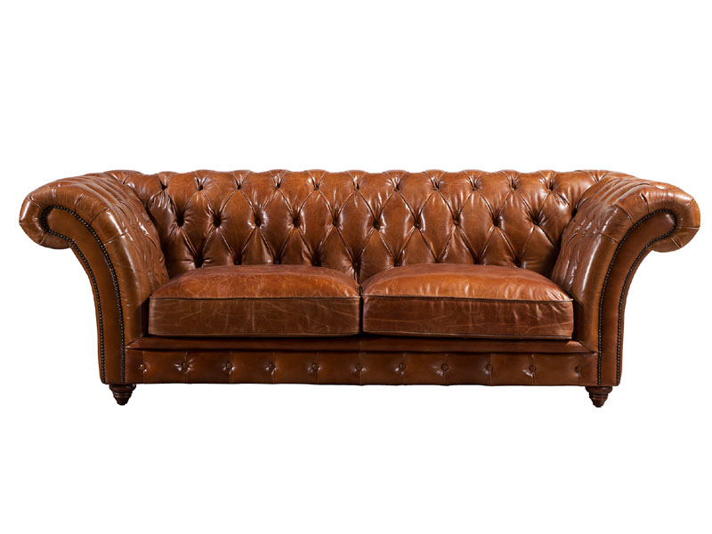 Barrington 3S Vintage Leather Chesterfield Sofa