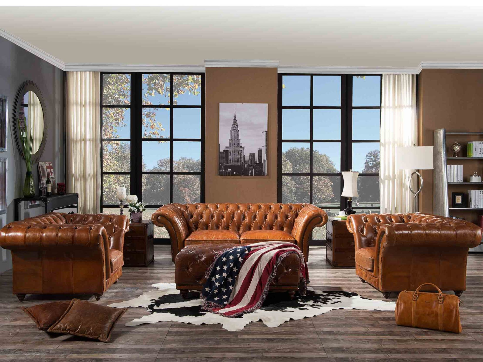 3S Vintage Leather Chesterfield Sofa