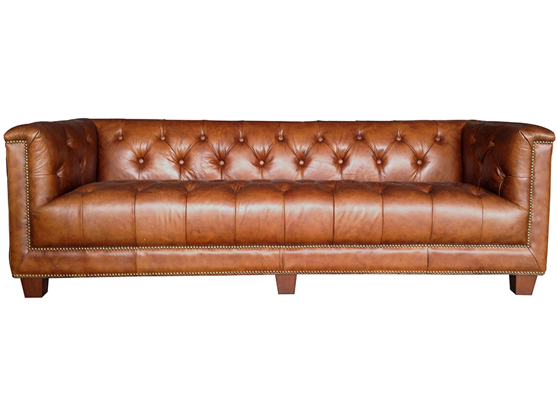 Antique Leather Sofa Tufted Back Sofa Living Room Sofa