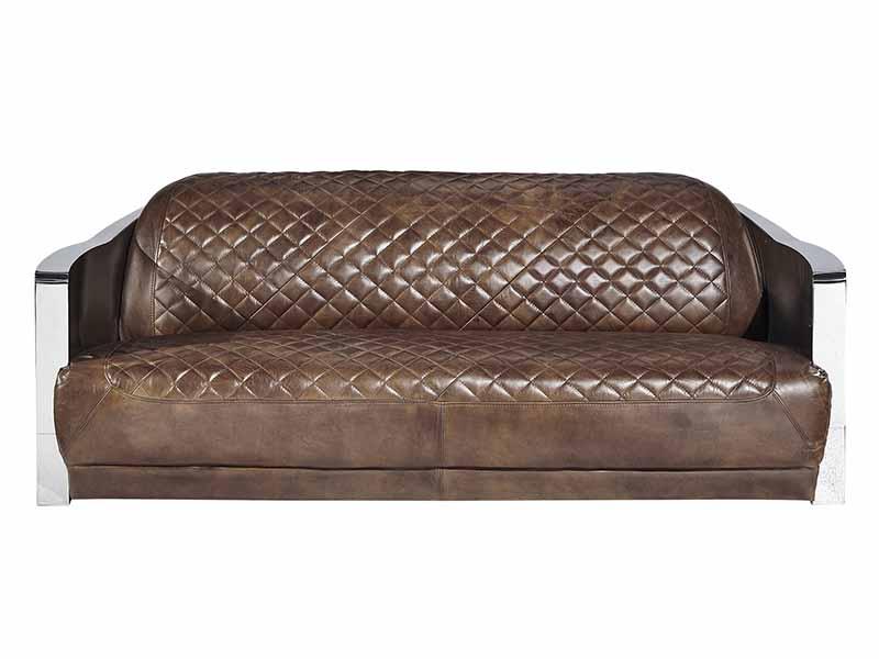 Stainless Steel Arm Vintage Brown Leather 3 Seater Sofa, Vintage ...