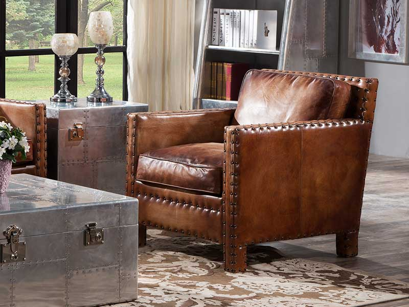 Awe Inspiring Vintage Leather Chair With Rivets Creativecarmelina Interior Chair Design Creativecarmelinacom