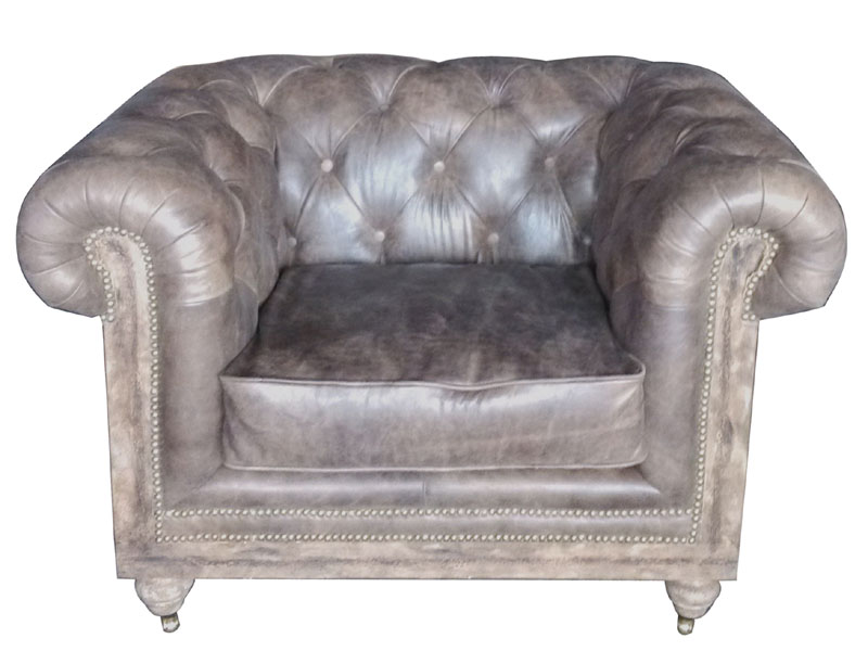 Vintage Tan Leather Chesterfield Roll Arm Sofa Chair