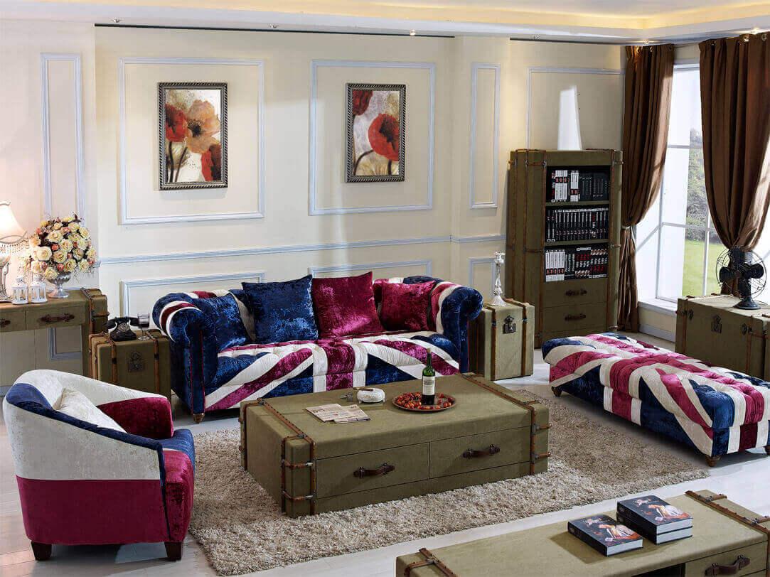 Union Jack Fabric Sofa; Vintage Fabric Sofa; Union Jack Sofa Set