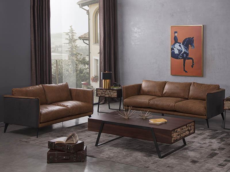 Loft Living Room Distressed Leather Mid-Century Sofa