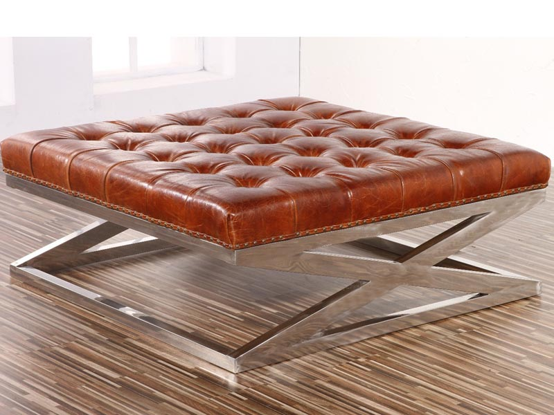 Peachy X Base Vintage Leather And Metal Ottoman Beatyapartments Chair Design Images Beatyapartmentscom