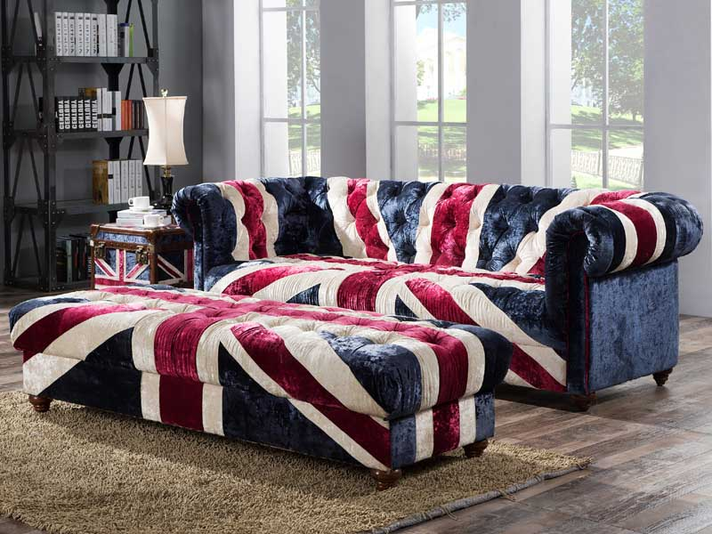 Vintage Fabric Union Jack Cube Trunk